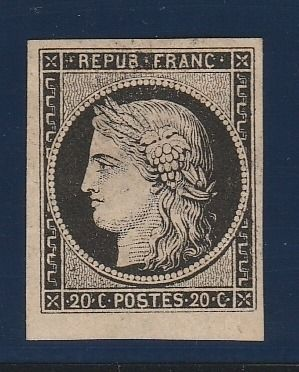 Francia 1849 - Ceres, 20 centimes black on yellow, signed Brun. - Yvert N°3