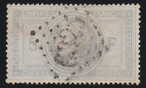 Francia 1868 - 5 Francs Napoleon Empire blue grey signed Calvès - Yvert N°33a
