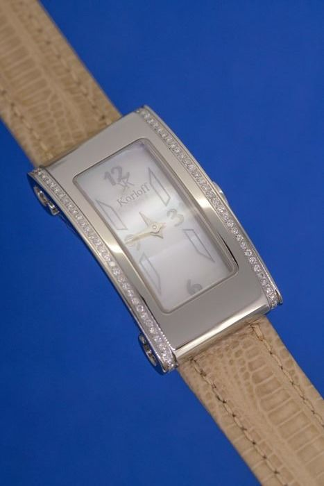 Korloff - Diamonds for 0.74 Carat Romeo-Juliette Collection Mother of Pearl Dial Leather strap Swiss Made - LK43 - Damen - BRAND NEW