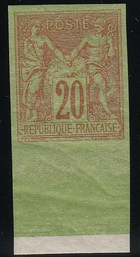 "Francia 1884 - Sage, 20 centimes type II, ""Régents"" reprint with sheet margin, signed Brun. - Yvert N°96c"