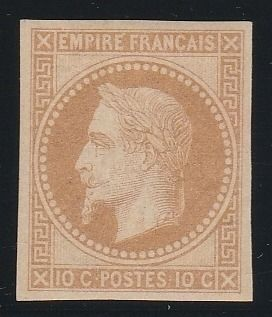 Francia 1867 - Napoleon lauré 10 centimes, Rothschild reprint, imperforate. - Yvert N°28Aa