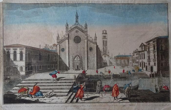 Italy, Venetië; Basset - A view of ye Church & Place of ye Minor convential Monks at Venice - ca. 1765