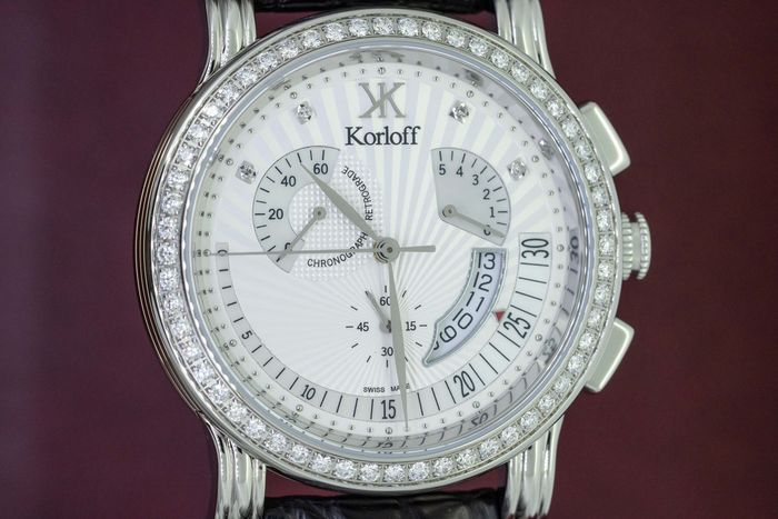 Korloff - Diamonds 1.42 Carat Voyageur Collection Chronograph Alligator Strap Mother of Pearl Swiss Made - VCRWD - Homme - BRAND NEW