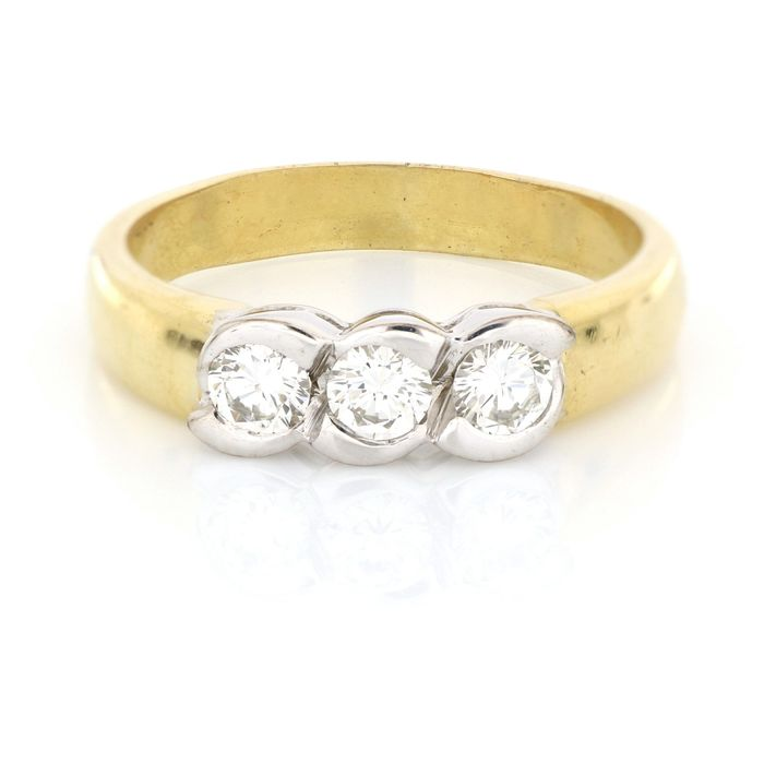 Salvini - AIG Certificate - 18 kt. White gold, Yellow gold - Ring - 0.60 ct Diamond
