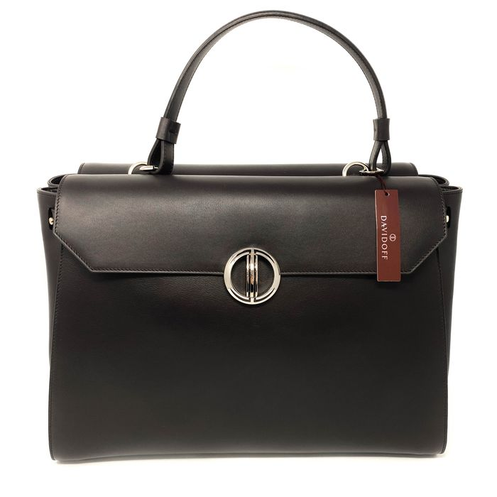 """Davidoff - Gina Brown Leather Large Handbag Icon Collection Model 22392 Made in Italy """"NO RESERVE PRICE"""" - Bolso de mano"""