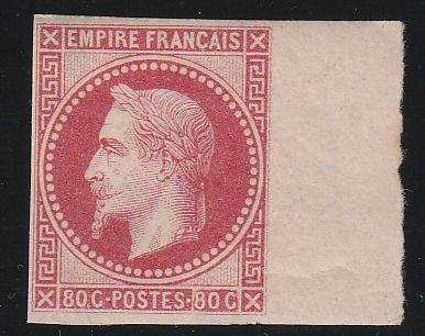 Francia 1867 - Napoleon lauré 80 centimes, Rothschild reprint, imperforate. - Yvert N°32b