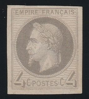 Francia 1866 - Napoleon lauré 4 centimes, Rothschild reprint, imperforate. - Yvert N°27Be