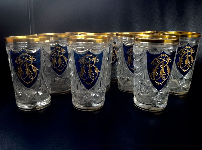 Antique water glass gold inlay monogram (12) - Kristal