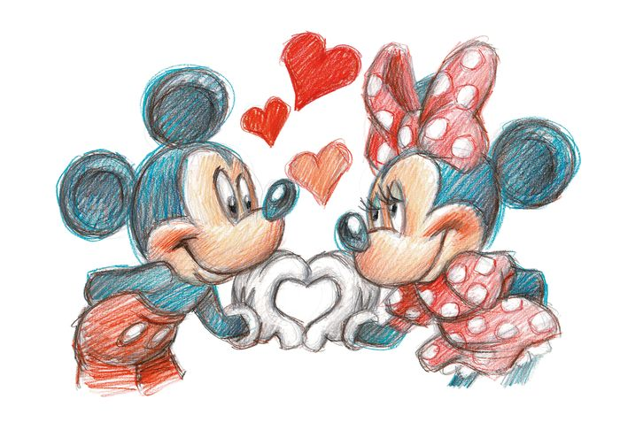 Mickey & Minnie Love - Unique Signed Giclée - Joan Vizcarra - Sur toile