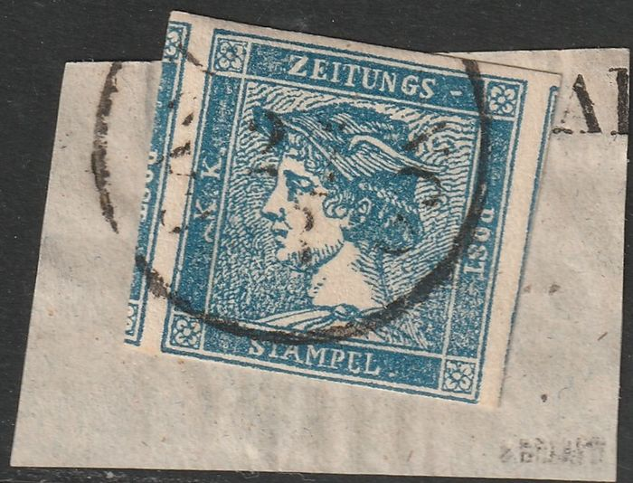 Lombardo Veneto 1851 - Newspaper stamps, (3 cents) blue type III on strip fragment from Castelfranco - Sassone N. 3