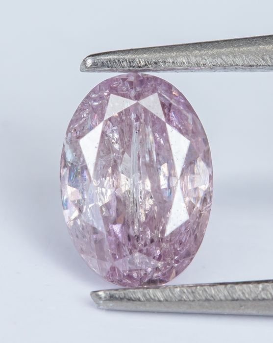 Diamant - 0.24 ct - Natural Fancy Purplish Pink - I2 - NO RESERVE