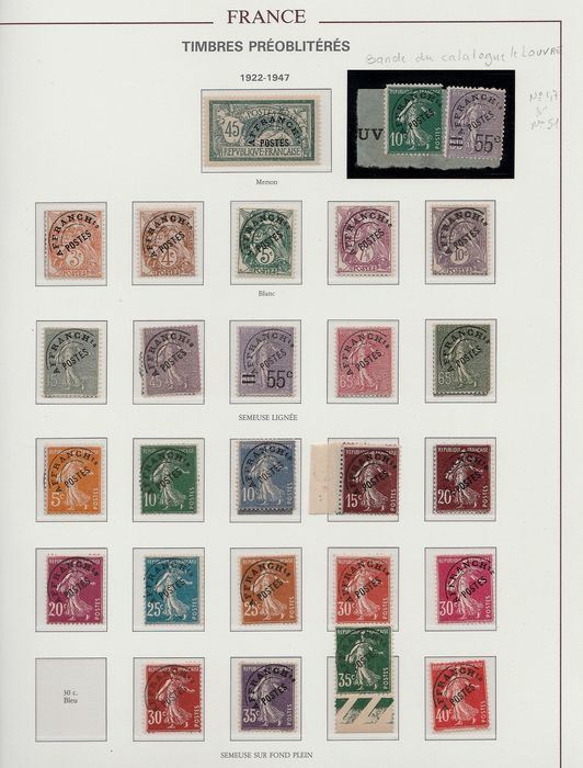 Francia 1922/1993 - Collection of pre-postmarked stamps. - Yvert Entre n°44 et 231