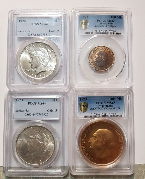 Allemagne, États-Unis - 100 Mark (1922) + 10.000 Mark 1923 + Dollars (Peace) 1922 and 1923 (4 pieces) in PCGS Slabs - Argent, Cuivre