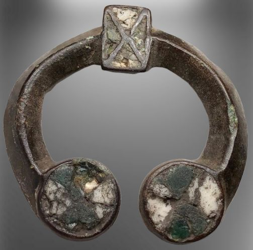 Early medieval Bronze Excellent Viking Enamelled Omega Fibula.
