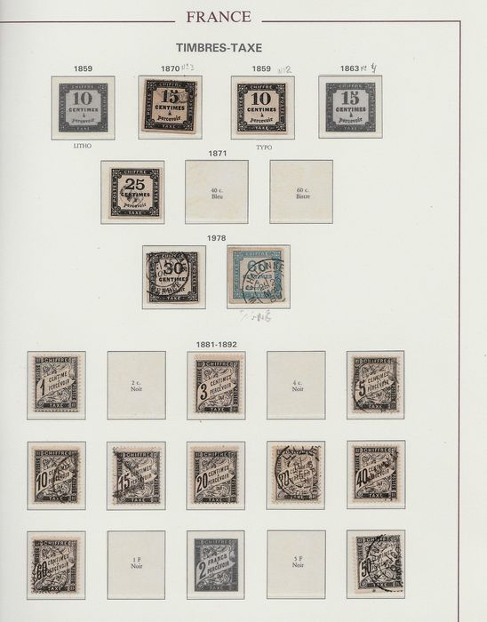 Francia 1859/1983 - Collection of older and modern tax stamps - Yvert Entre n°2 et 112