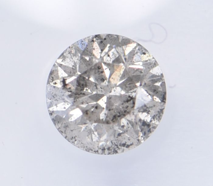 1 pcs Diamond - 0.52 ct - Brilliant, Round - Natural Light Grey - I3 (piqué), ** No Reserve Price! **