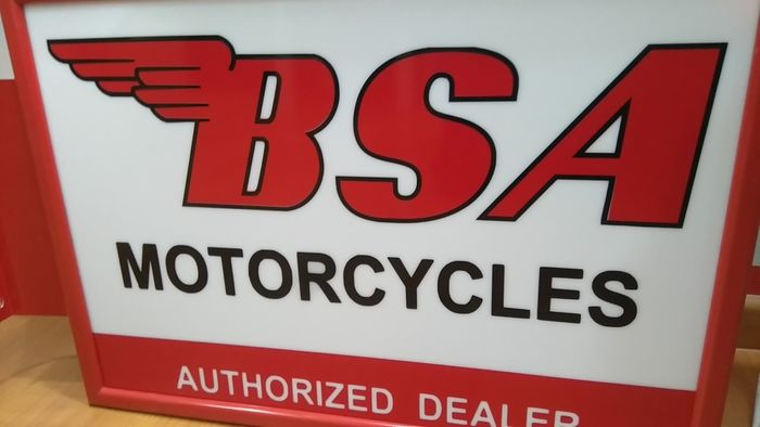"""New BSA Motorcycles Authorized Dealer Shop 12/"""" x 18/"""" Sign"""