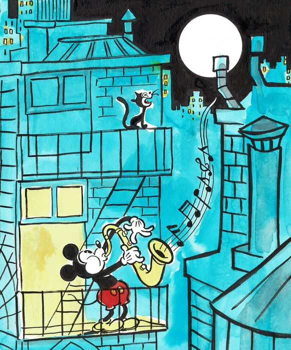 Mickey Mouse - Saxophone Player in NYC - Original Painting - Tony Fernandez - Art acrylique