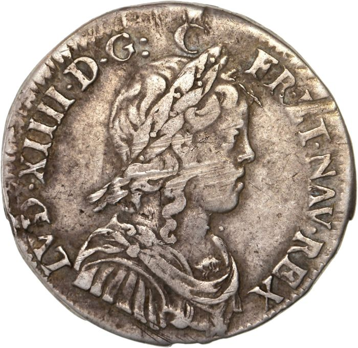 France - Louis XIV - 1/4 Ecu 1650 (Rennes) - Silver
