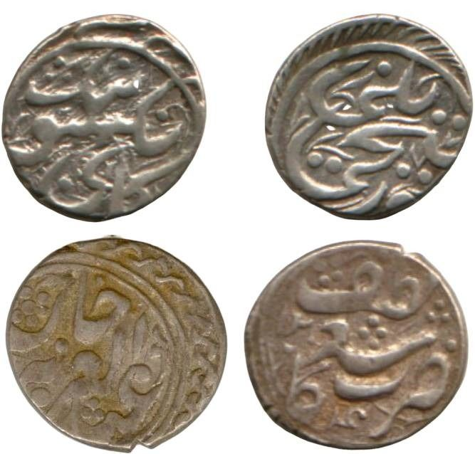China - Xinjiang - Lot comprising 2 AR 1/2 Miscal (mace)  - Ya'qub Beg's rebellion, AH1294 (AD 1877) / Kuang Hsu year 4 (AD 1878) - Plata