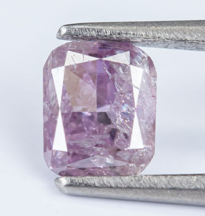Diamant - 0.17 ct - Natural Fancy Purplish Pink - I1 - NO RESERVE