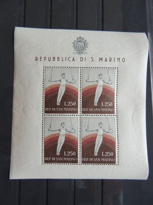 San Marino 1954 - Gymnastics in a sheet of 4. - Yvert 393 MNH