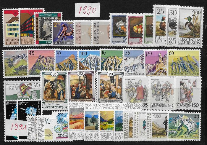Liechtenstein 1990/2000 - 11 complete years of stamps and blocks - Michel 984/1254 y Block 14/17