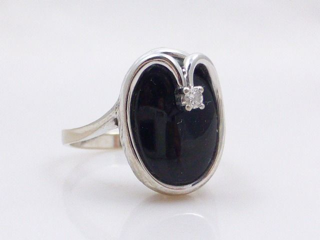 14 carats Or blanc - Bague onyx - Diamant