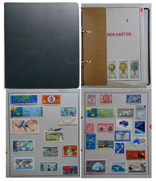 Mundo - Topical stamps: Maps on stamps - authentic collection in A5 ring binder.