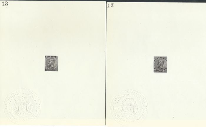 Bélgica 1929 - Ministerial sheetlets (issue of 1883) of the 1 and 2 francs, not issued. Print run of 18 copies.