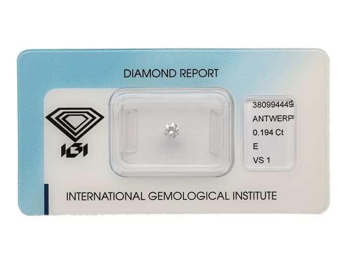 1 pcs Diamant - 0.19 ct - Brillant - E - VS1 ***No Reserve***