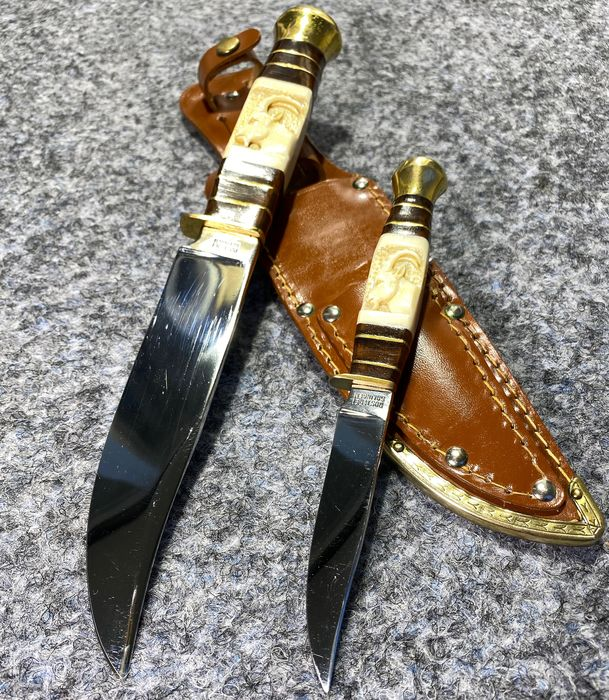 Allemagne - Excellent & Rare ACKERMÄNNCHEN Double Knife With Carved Horn Handles - SOLINGEN 1960/70s - Hunting - Couteau