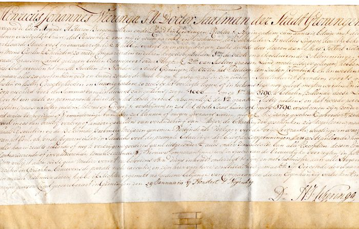 Dz. H.J. Wieringa. - Manuscript; Notarial deed on vellum, from Groningen, with seal. - 1790