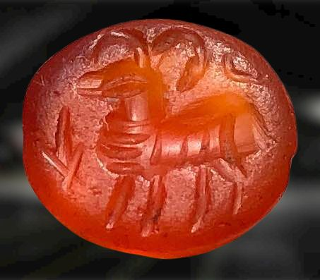 Ancient Roman Carnelian Gemstone with a standing Goat and an Arrow head.One of the sacred animals of Juno Sospita (Palatine)