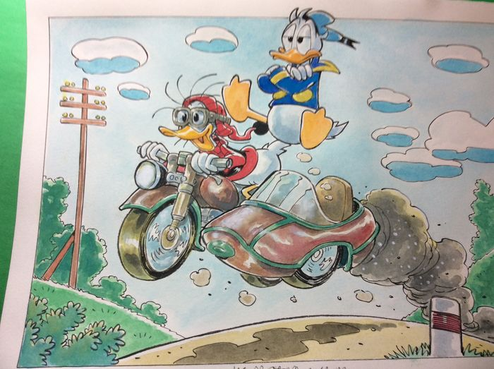 "Donald Duck - ""Jumping in sidecar"" - Losbladig - onuitgegeven - (2019/2019)"