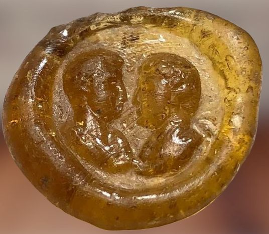 Ancient Roman Glass Magnificent Glass Weight with double portrait (Profiles) of Imperial Couple.