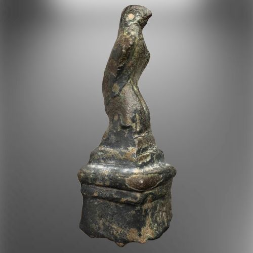 Ancient Roman Bronze Rare Figurine of Legionary Eagle on a Square Monolithic Pedestal Symbol of Imperial Might & Strenght
