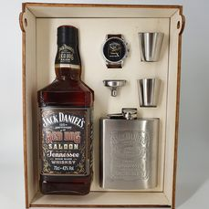 Jack Daniel's Red Dog Saloon - gift set with watch, flask & cups - 70cl