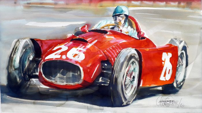 Original watercolor by Gilberto Gaspar - Lancia D50, 1950 - Lancia - Posterior a 2000