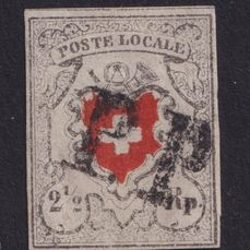 """Suisse 1850 - """"Poste Locale"""" with framed cross, """"PP"""" (Poste Payé) from St. Gallen - Zumstein 14I"""