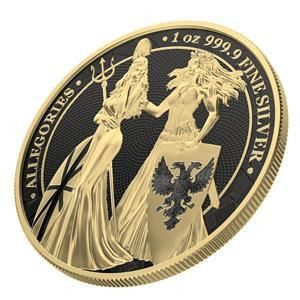 Germania. 5 Mark 2019  Germania & Britannia - Gold & Black Varnish1 Oz