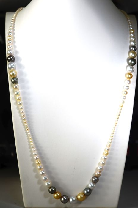 South sea pearls, Tahitian pearl, 3.0-11.8mm - Necklace
