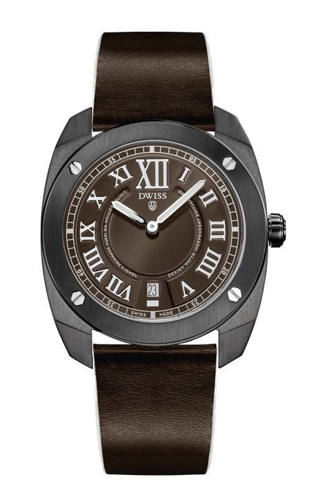 DWISS - Limited Edition Brown with Leather Strap Swiss Made - RC1-BR - Unisex - Brand New