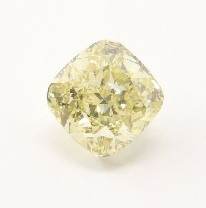 1 pcs Diamond - 0.73 ct - Cushion - GIA Cert Excellent - fancy brown greenish yellow - I1