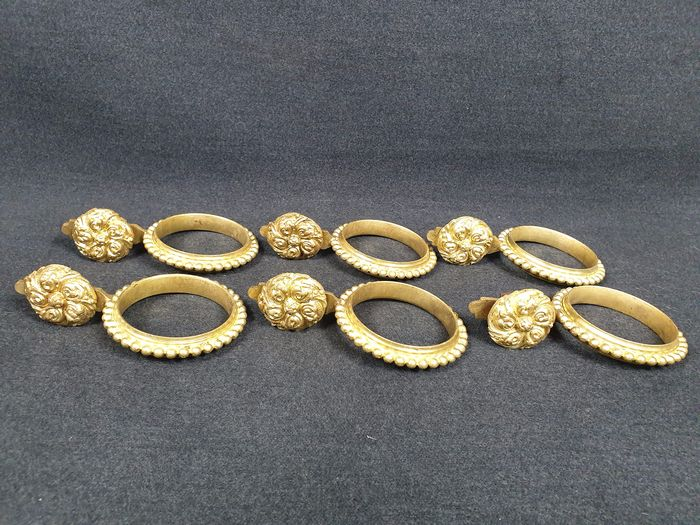 Ancient applications for curtains with machined rings (6) - golden bronze - ca. 1900