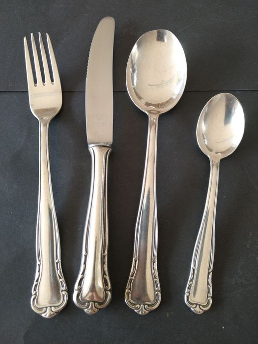 Bischoff & Schwarz Silberwarenfabrik Pforzheim (BS) - decorative, 22-piece heavily silver-plated (100) menu cutlery - Silver-plated stainless steel (100) - marked / hallmarked