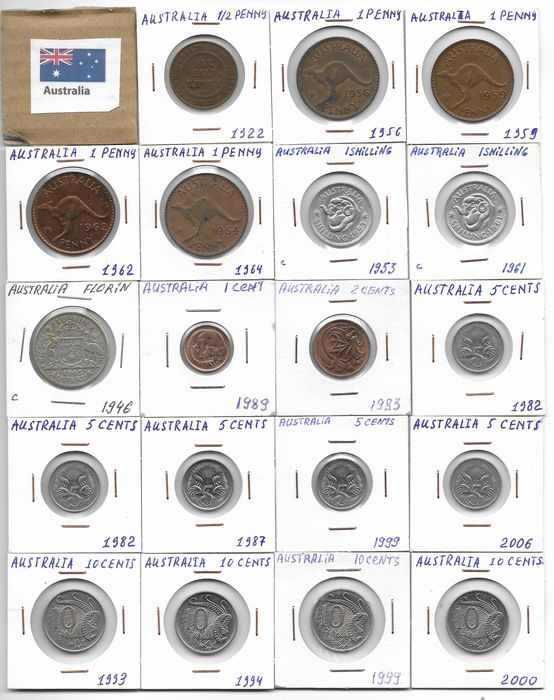Australia and Oceanië  - Lot various coins 1922/2015 (111 pieces) including silver