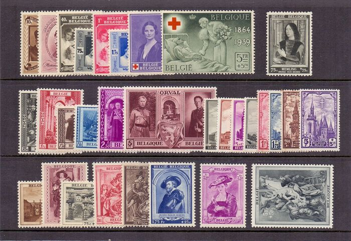 Belgique 1939 - Complete year with Rubens House and Third Orval - OBP / COB 496/526