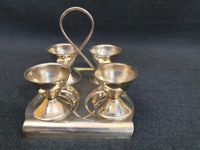 Egg service set for 4 pcs. in sheffield - Silverplate