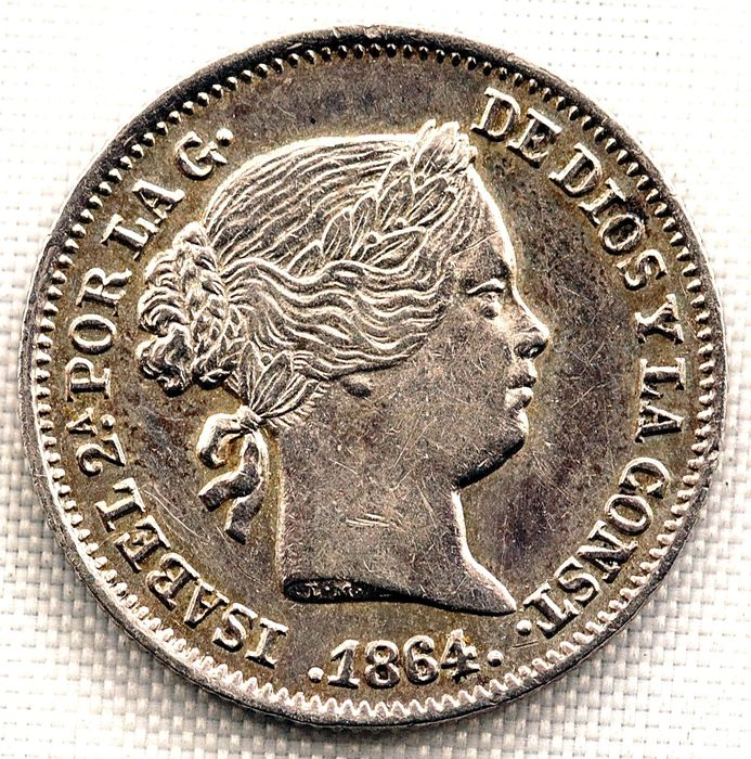 Spain - 1 Real  - 1864 - Barcelona - Isabel II  - Silver